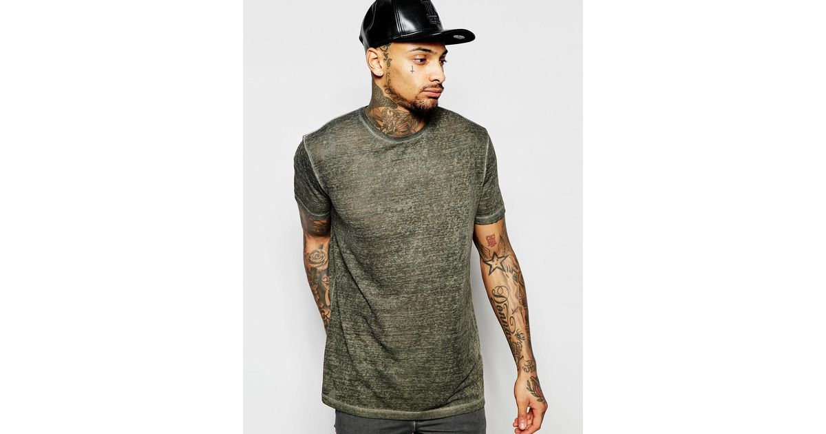 Lyst - Asos Longline T-shirt With Overspray Effect In Khaki in Brown for Men