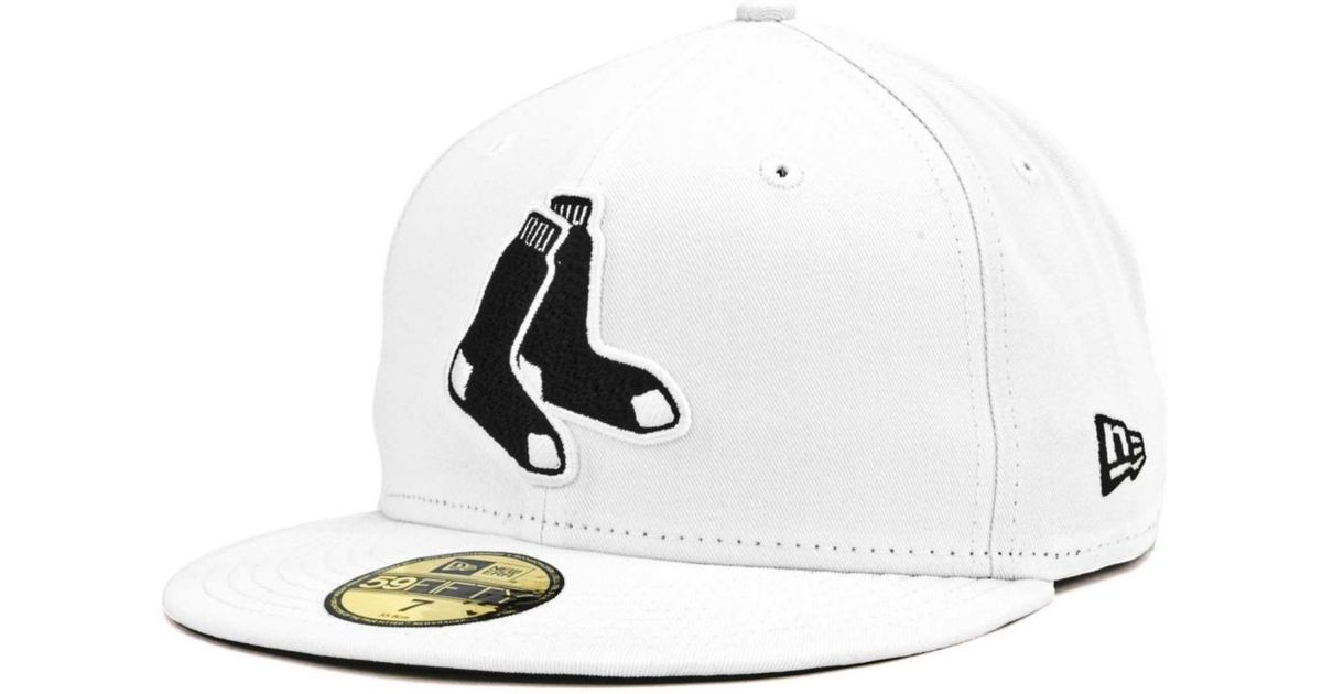 hot sale online 3e46d d7372 ... new era black primary logo basic 59fifty fitted hat 79285 43a8b  order  lyst ktz boston red sox mlb white and black 59fifty cap in white for men