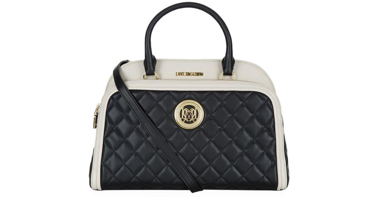 love moschino contrast trim flap pocket bowling bag in black lyst. Black Bedroom Furniture Sets. Home Design Ideas