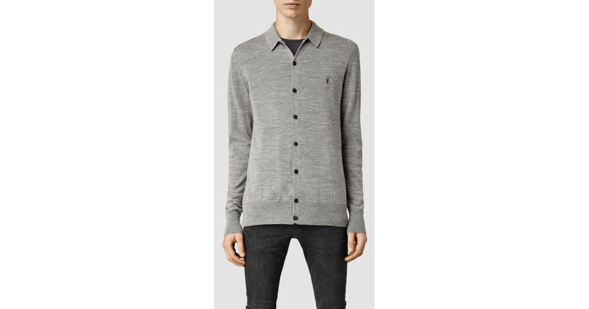 Lyst Allsaints Mode Merino Polo Cardigan In Gray For Men