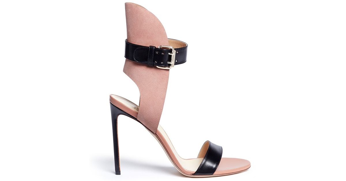 2f4867717516 Lyst - Francesco Russo Ankle Strap Leather Suede Sandals in Pink