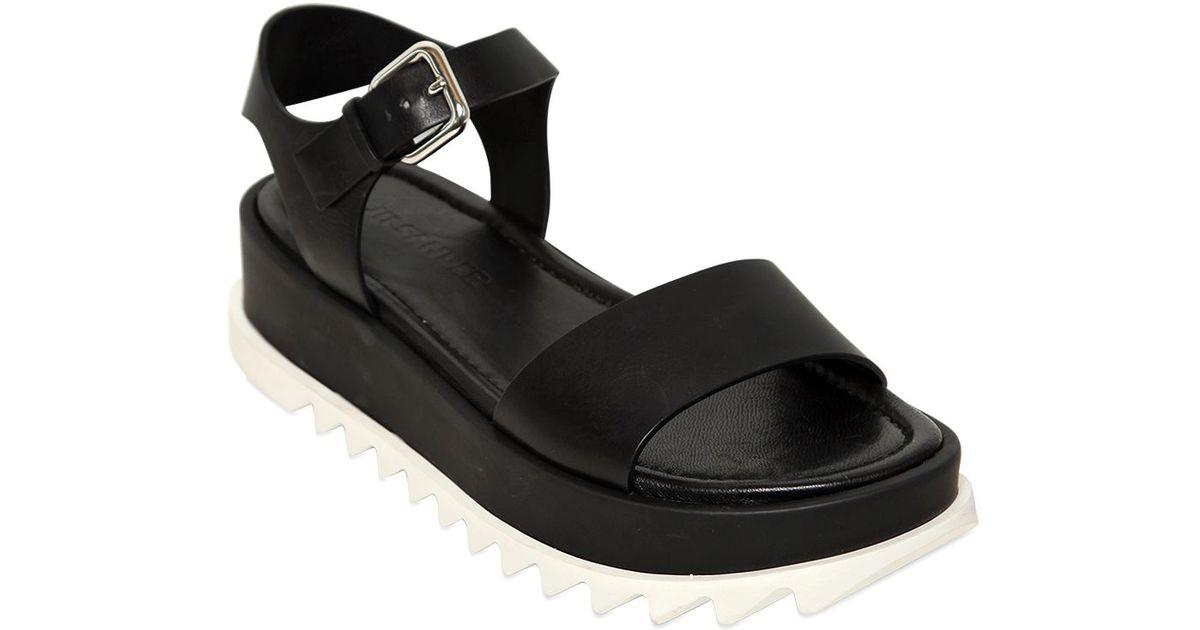 b7d827754c Jil Sander Leather Platform Sandals in Black - Lyst