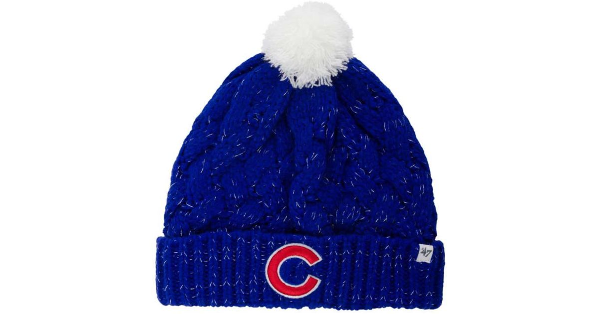 62936ca9048357 ... discount lyst 47 brand womens chicago cubs fiona pom knit hat in blue  205d4 6cc29 ...