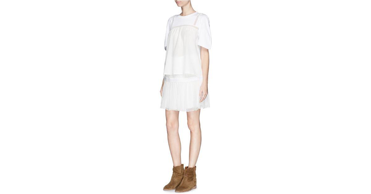 9eb000e13e4 Lyst - Chloé Silk Lace Harness Cotton T-shirt in White