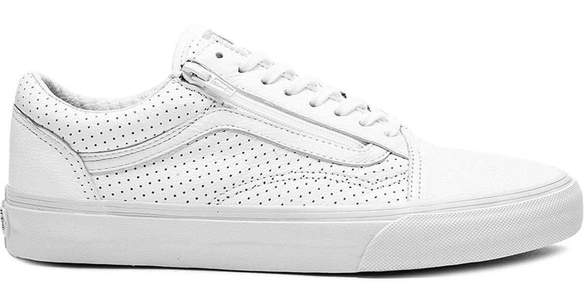 9165387eb2 Lyst - Vans Old Skool Zip Perf Leather in White for Men
