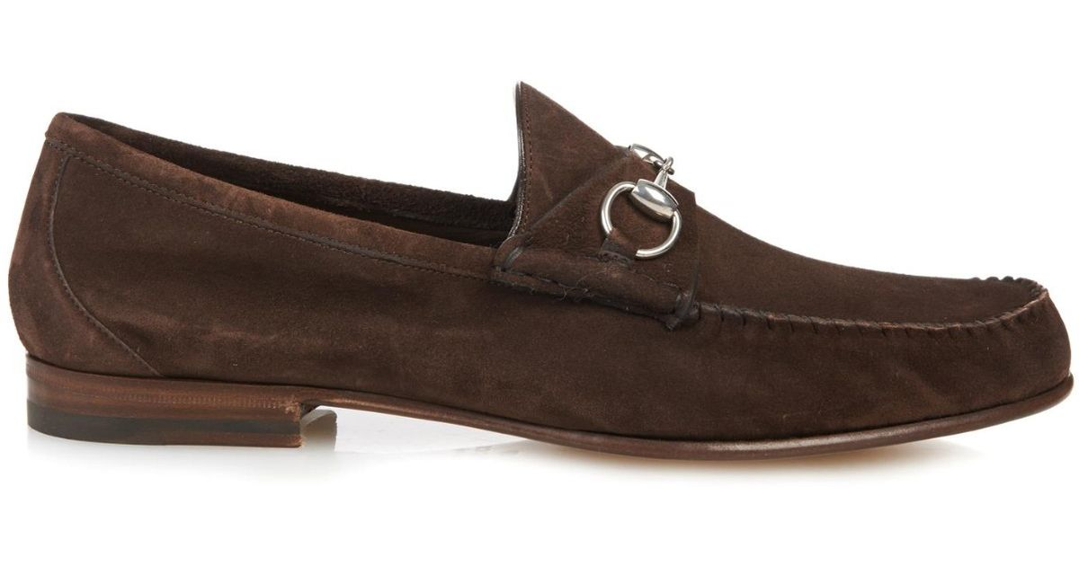 93d40f42c81 Lyst - Gucci Roos Suede Loafers in Brown for Men