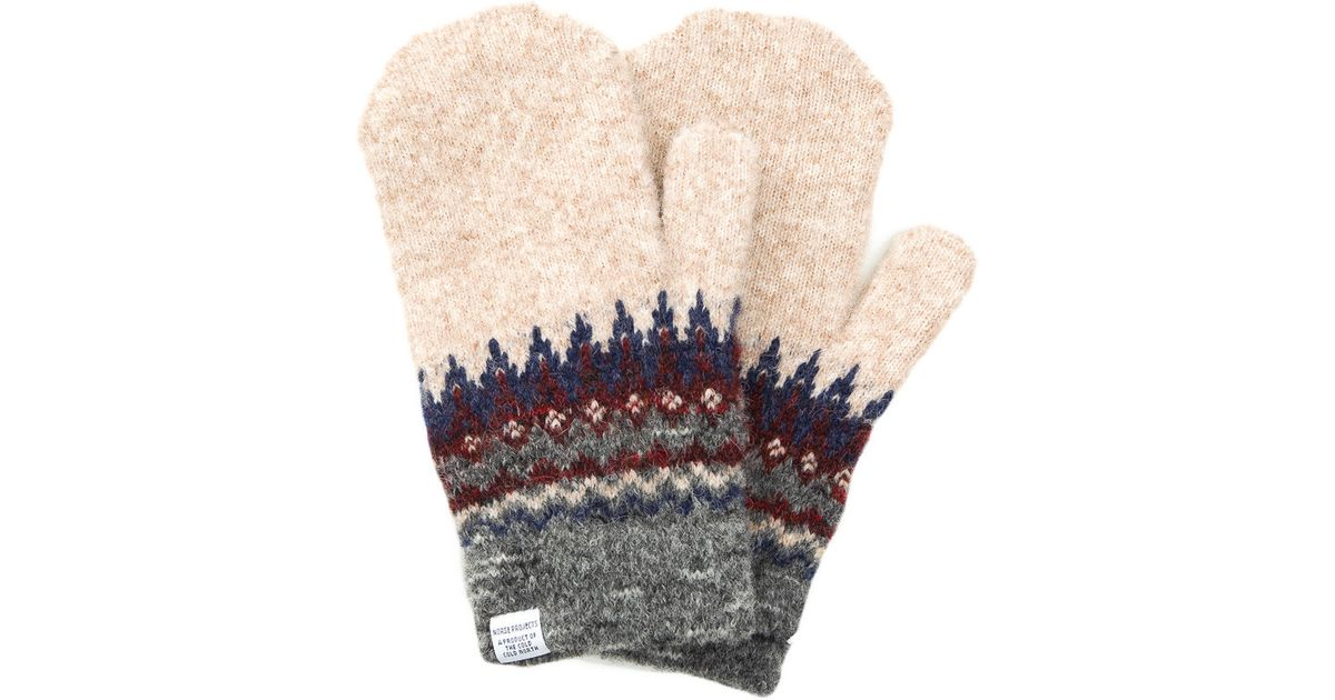 Norse projects Fairisle Mittens In Iron in Natural for Men | Lyst