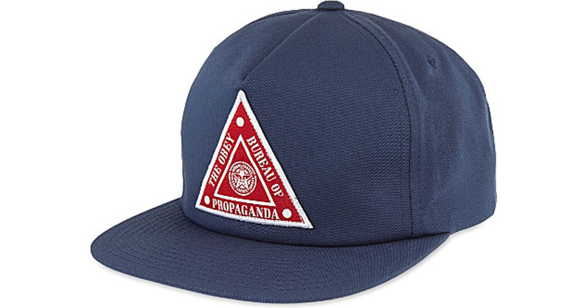 Lyst - Obey Hazard Triangle Patch Snapback in Blue for Men 896ced40d7b