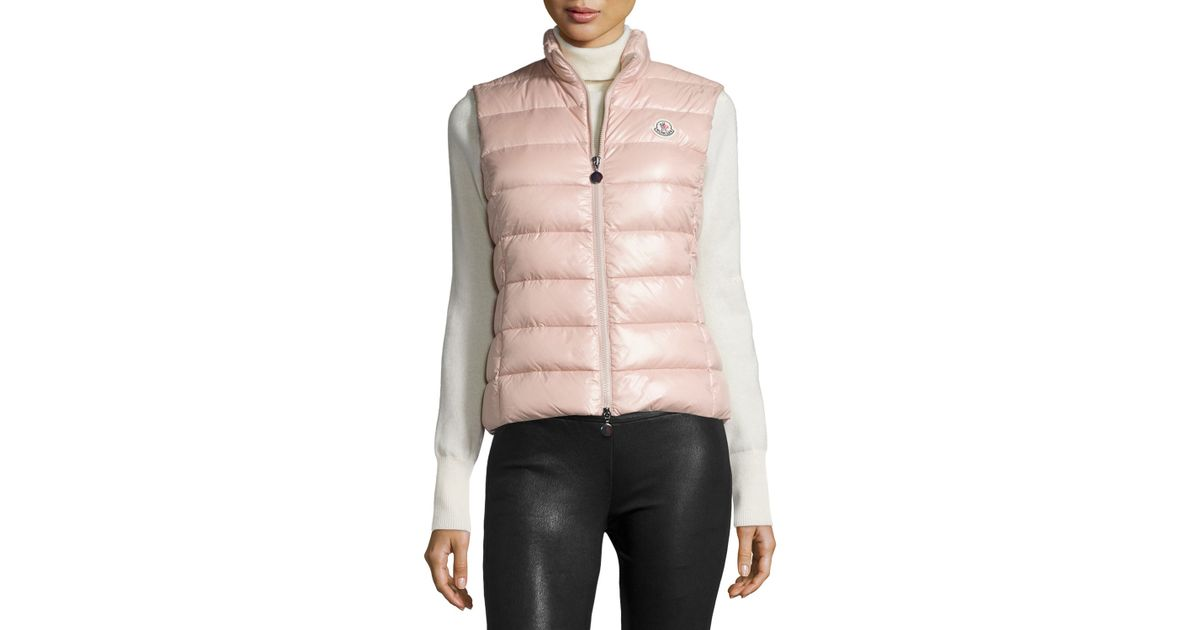 488ff4454897 ... best price lyst moncler ghany zip puffer vest in pink aaf98 8ef17
