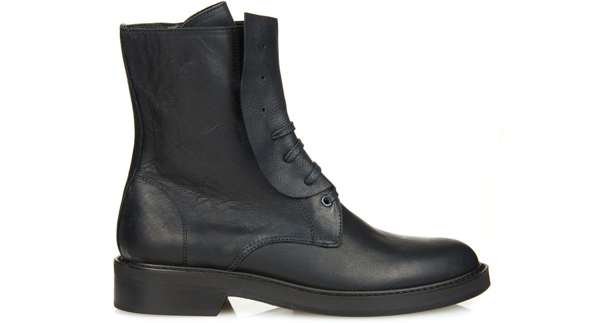 discount low cost Y's by Yohji Yamamoto Leather Round-Toe Boots Inexpensive cheap price latest collections online vsLV5HAKS