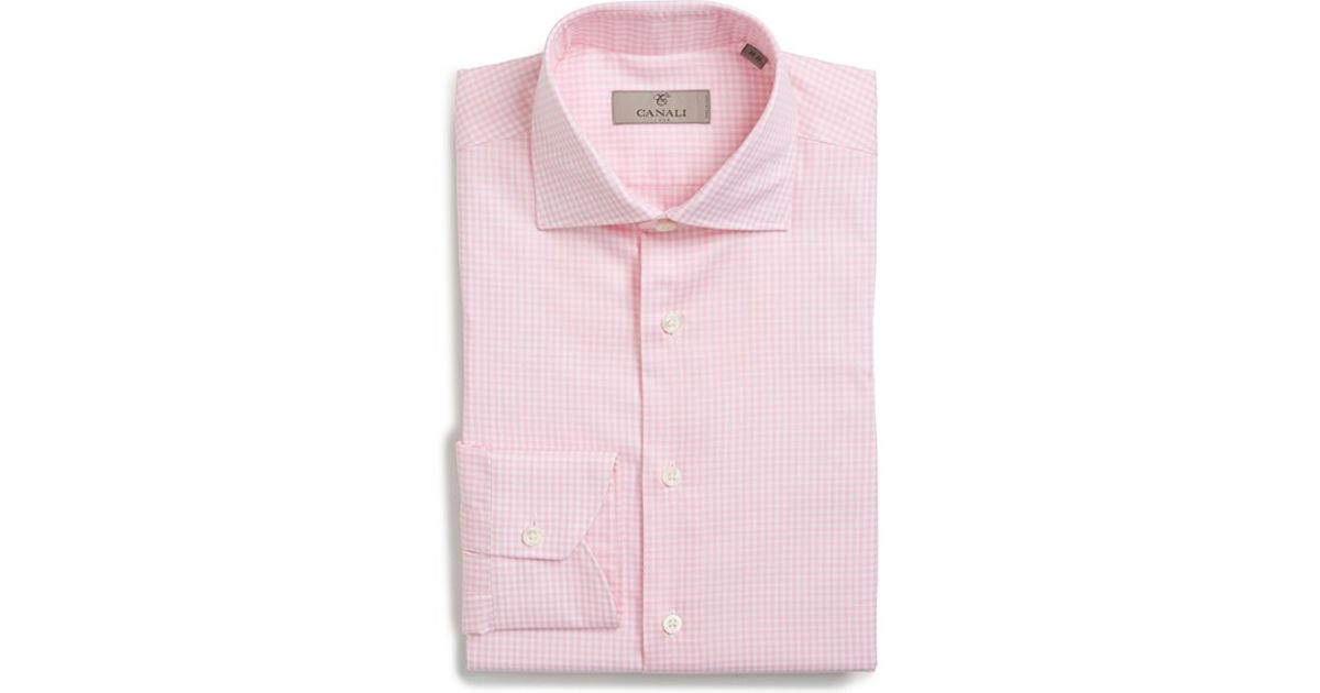 d955e5bc230 Canali Regular Fit Check Dress Shirt in Pink for Men - Lyst