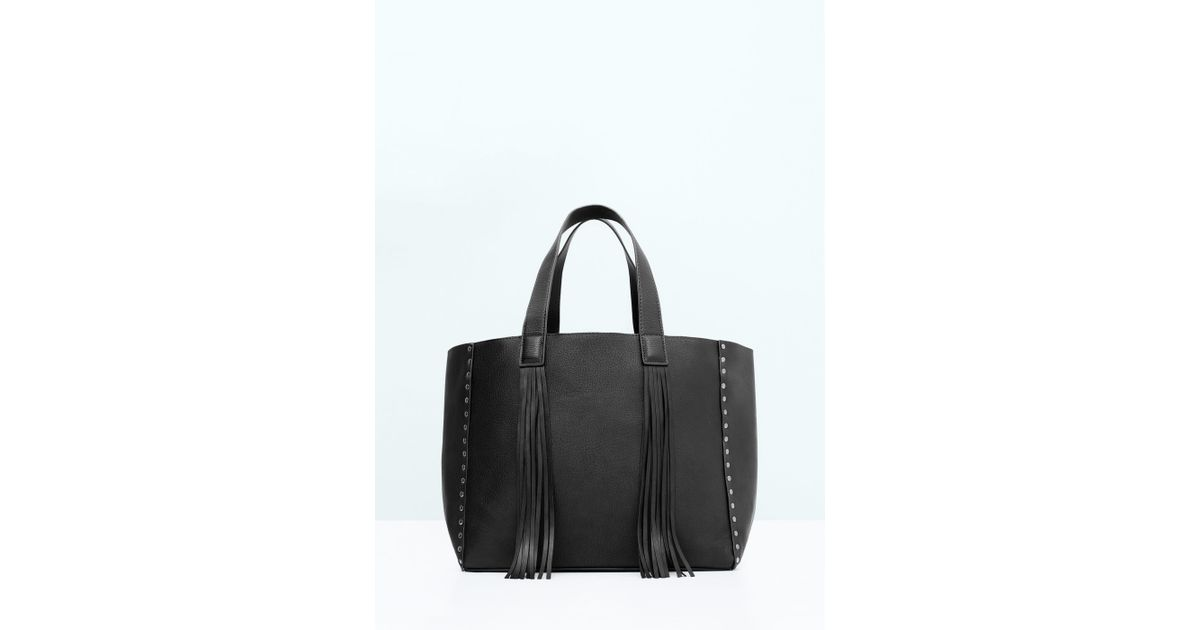 bbaf83ca690 Mango Fringed Shopper Bag in Black - Lyst