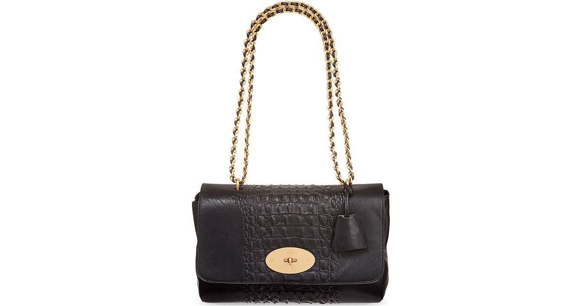 b518ccaa35 sweden mulberry medium lily crocodile stripe shoulder bag in black lyst  f3e61 8ac04