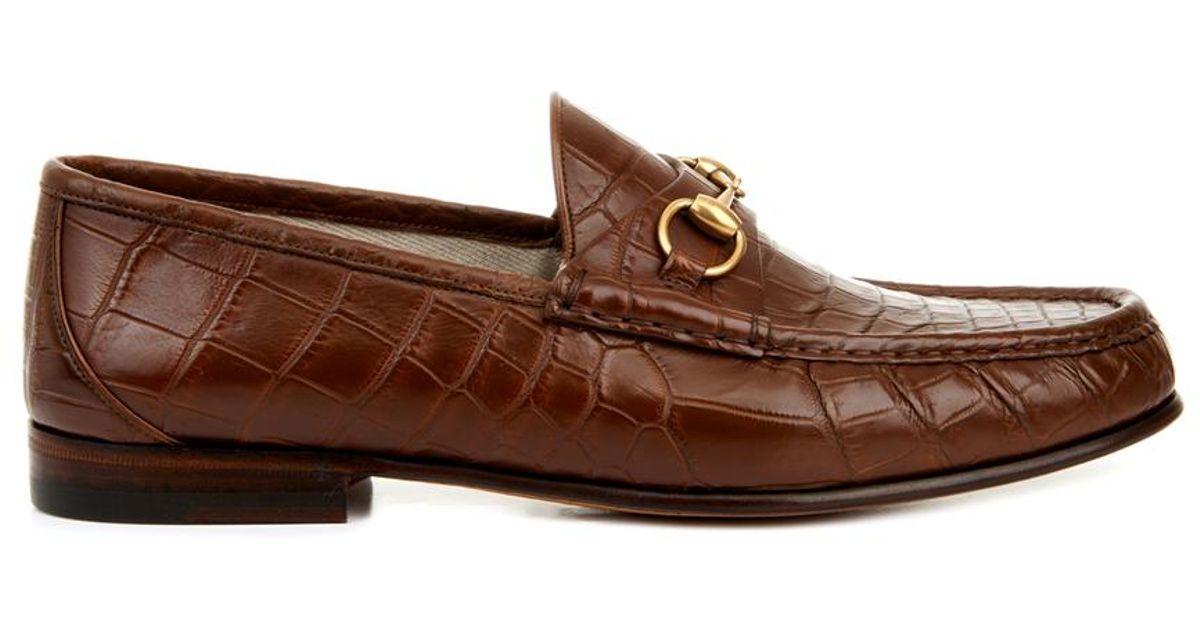 994fc7987f5 Lyst - Gucci Crocodile Horsebit Loafers in Brown for Men