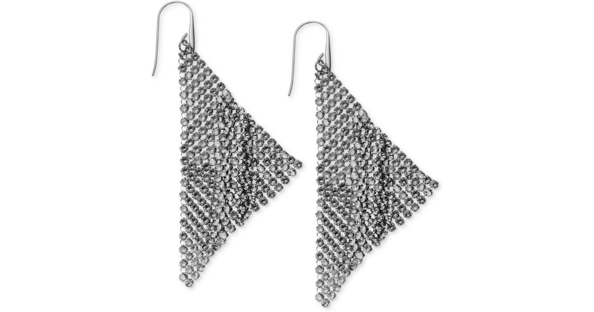 Lyst Swarovski Ruthenium Plated Black Crystal Mesh Drop Earrings In