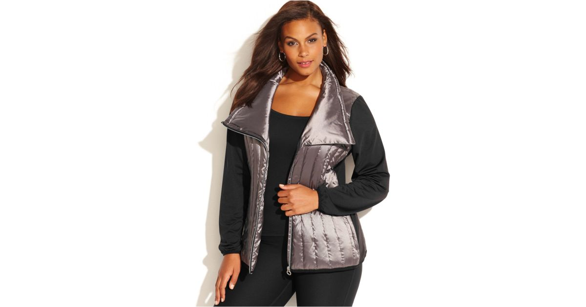 0f0632e99b8 Calvin Klein Performance Plus Size Mixed-Media Asymmetrical Puffer Jacket in  Metallic - Lyst