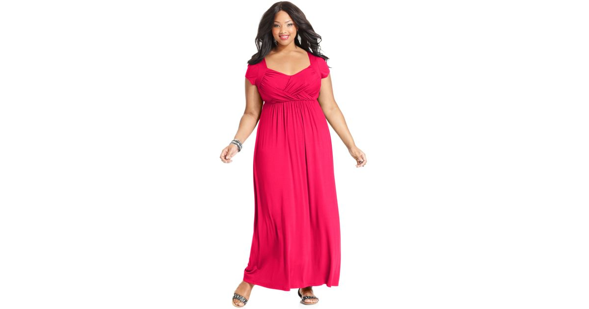 Soprano Plus Size Cap-Sleeve Empire Maxi Dress in Pink - Lyst