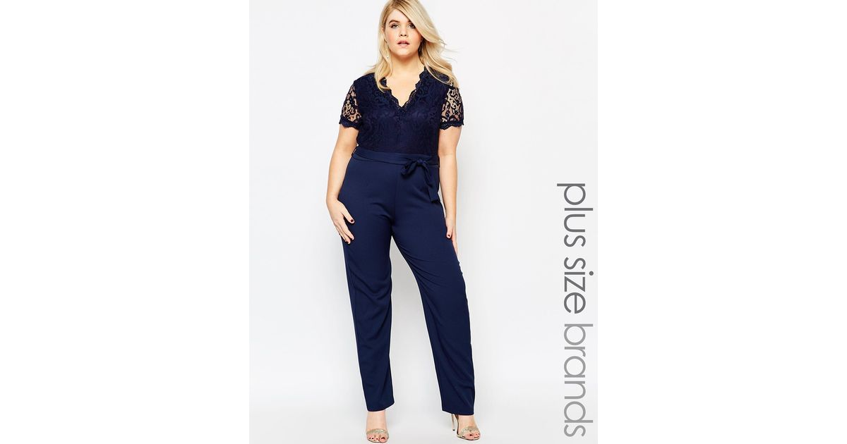 40380cda Club L Plus Size Jumpsuit With Scallop Lace Top in Blue - Lyst