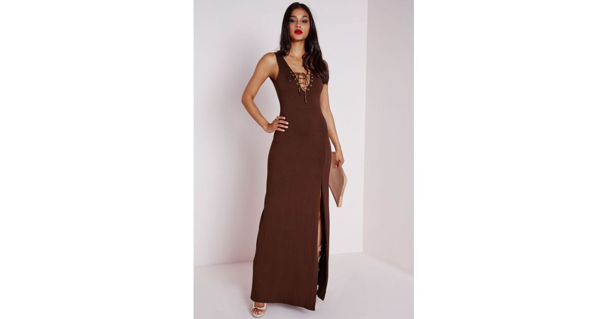 Lyst Missguided Lace Up Bodycon Maxi Dress Chocolate Brown In Brown