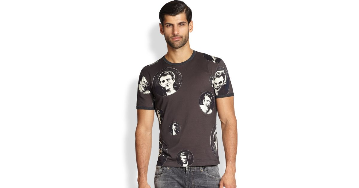 e04a5446d5d3d9 Dolce & Gabbana James Dean Icon Tee in Gray for Men - Lyst