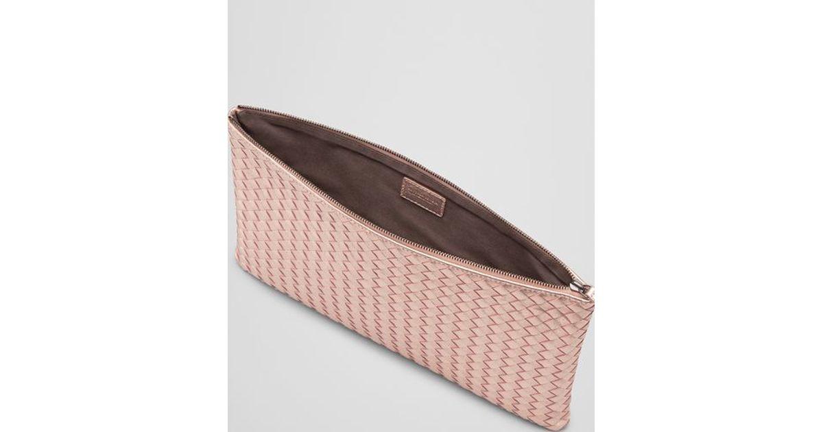 50de59df7031 Bottega Veneta Large Document Case In Petale Intrecciato Gros Grain in Pink  - Lyst