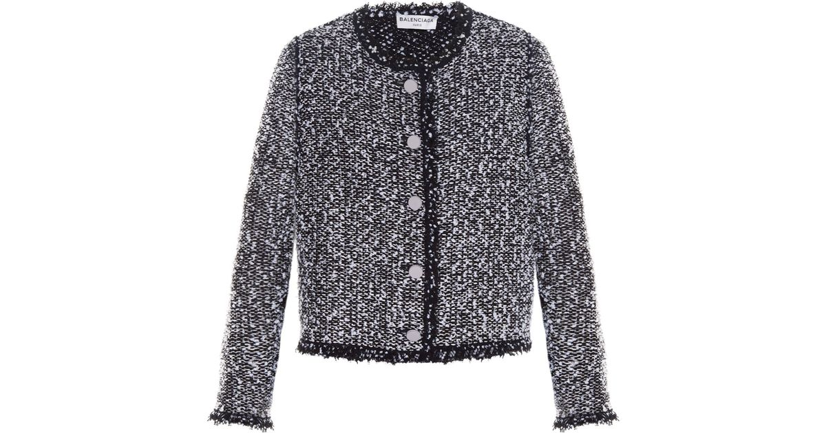 93d2159d3559 Lyst - Balenciaga Collarless Tweed Jacket Black in Black