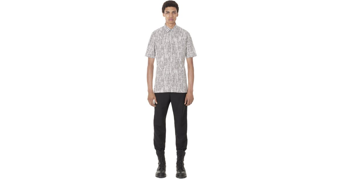 Lyst balenciaga grid slim fit short sleeved shirt in for How to hand wash white shirt