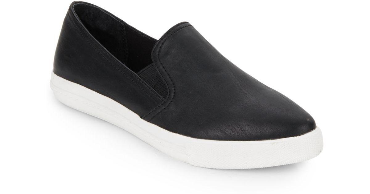 99cdb31edd2f2 Steve Madden Almond Toe Faux Leather Slip-One Sneakers in Black - Lyst