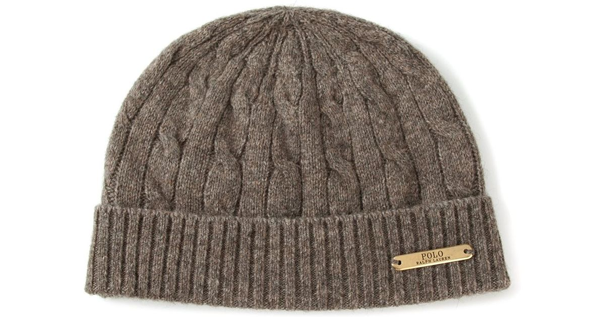 2845299a1e9 ... lyst polo ralph lauren cable knit beanie hat in brown for men