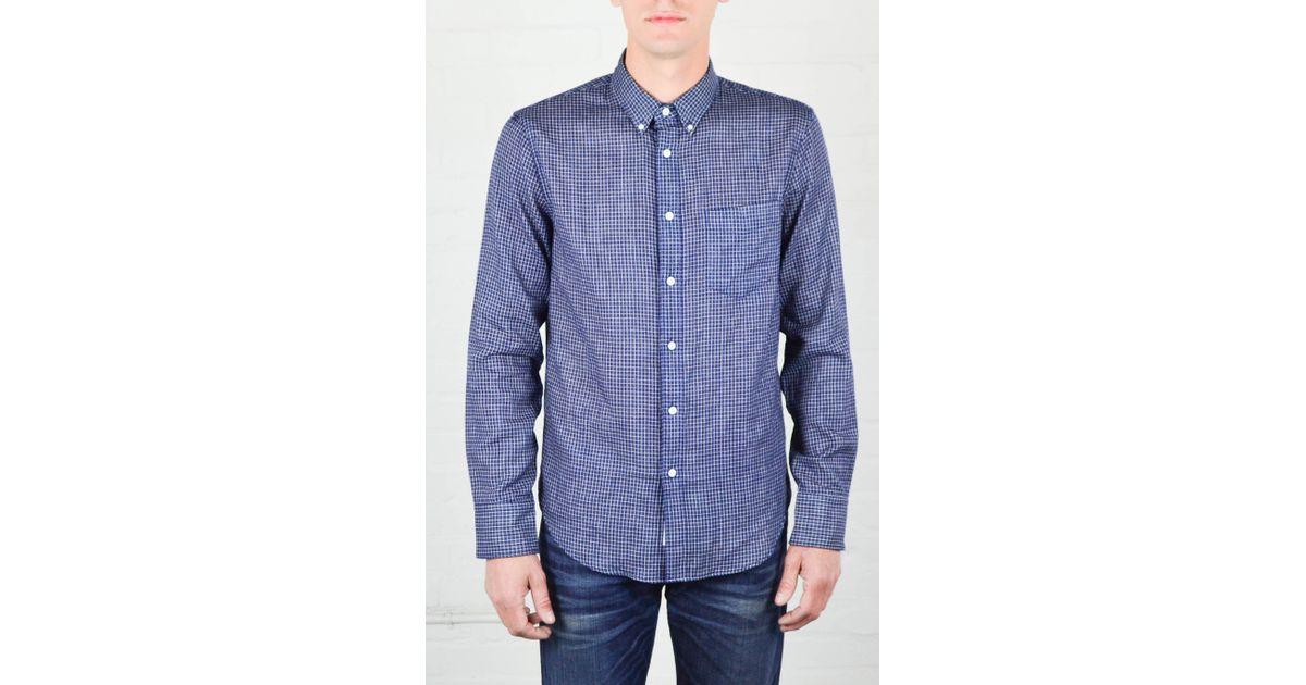 Rag Bone Indigo Check Yokohama Shirt In Blue For Men
