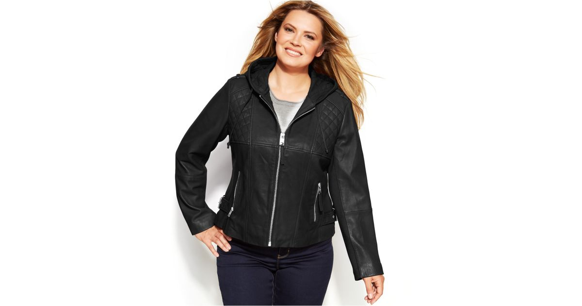 7119afb9826 Michael Kors Michael Plus Size Knit-Inset Hooded Leather Jacket in Black -  Lyst