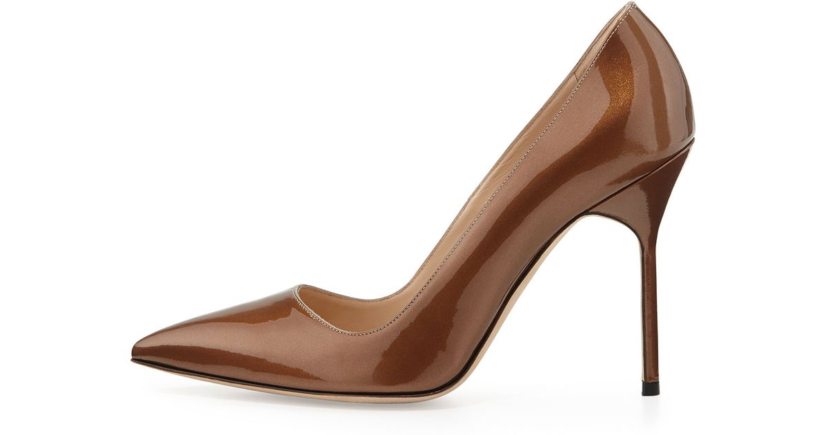Lyst - Manolo Blahnik Bb Metallic Patent-Leather Pumps in Brown
