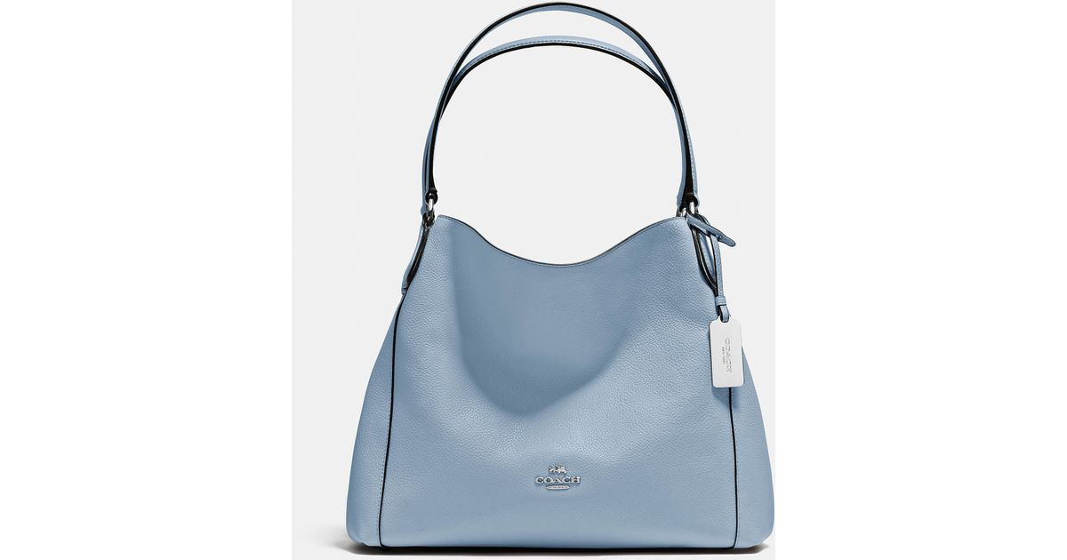 Lyst - COACH Edie Shoulder Bag 31 In Refined Pebble Leather in Blue 618a16f7b0764