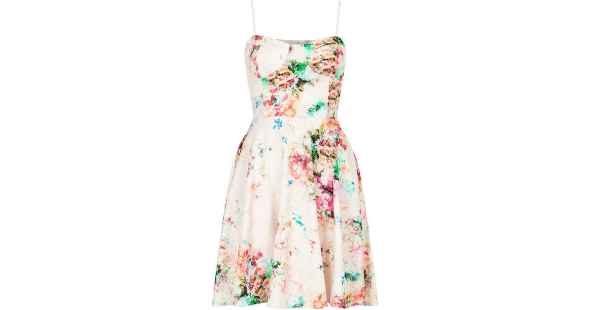 39d0b50652c Topshop Bralet Cup Printed Scuba Dress By Oh My Love - Lyst