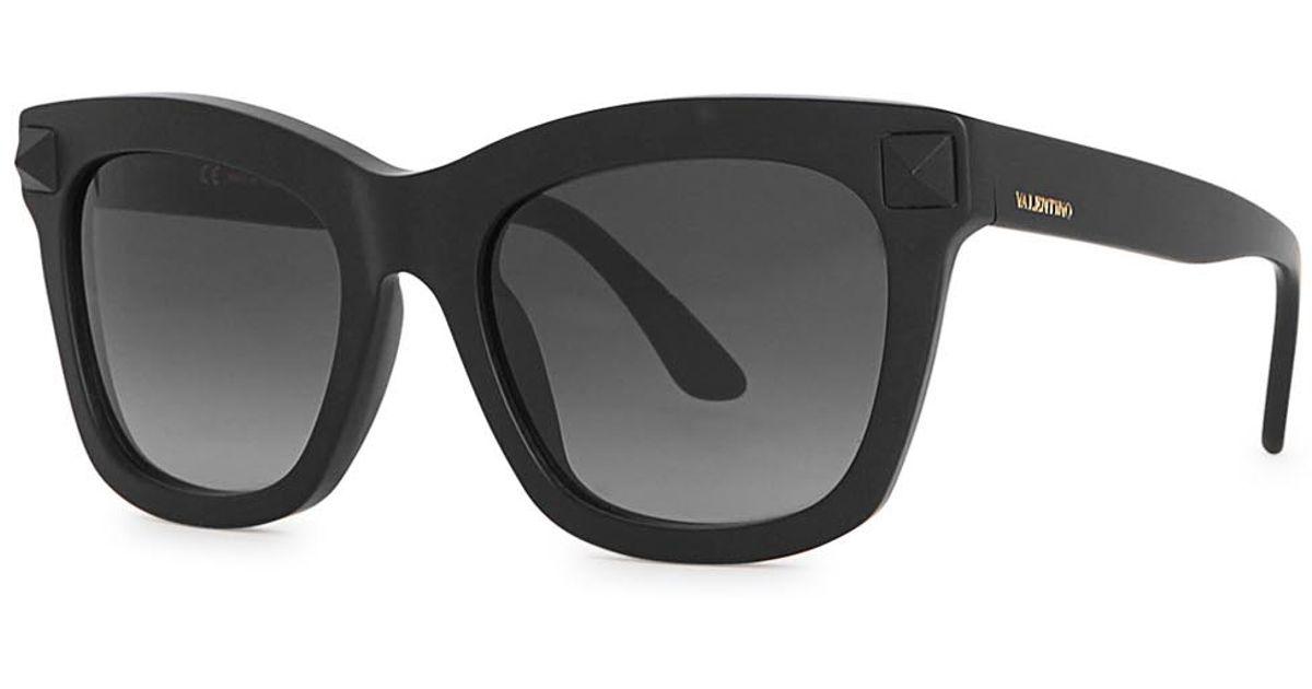 Valentino Matte Black D-frame Sunglasses in Black for Men - Lyst