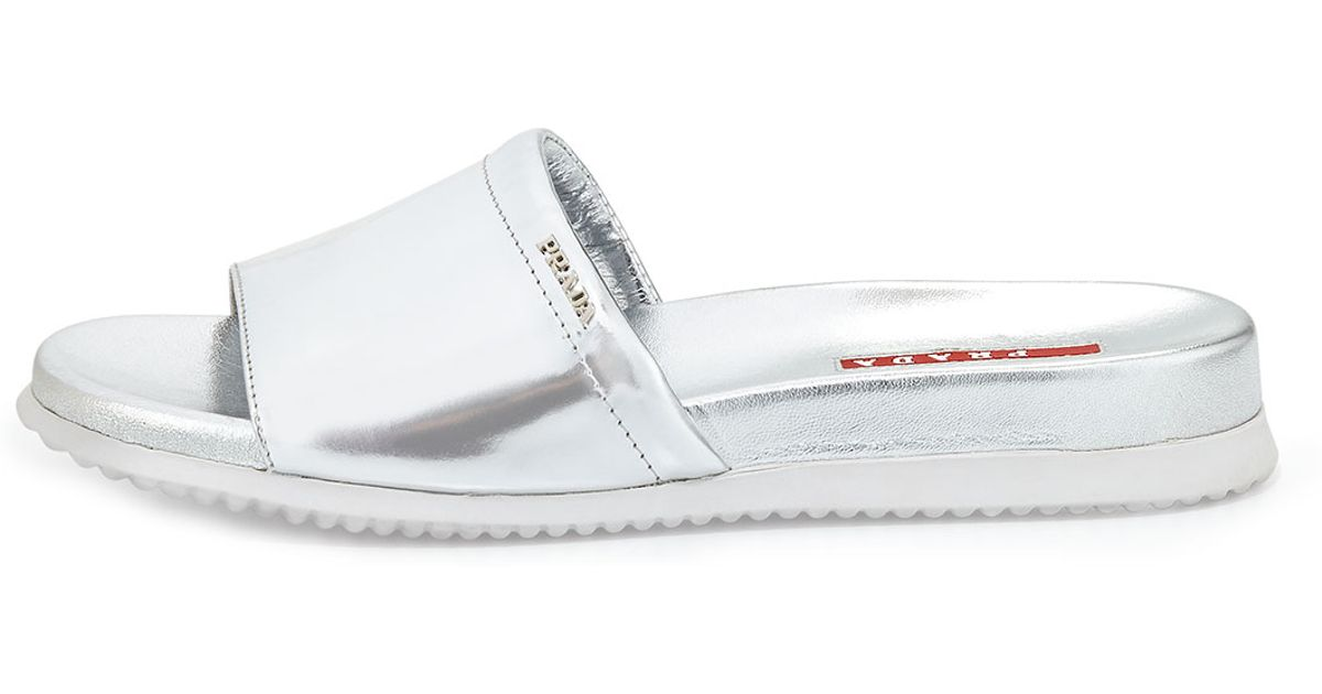 Prada Sport Metallic Slide Sandals free shipping exclusive outlet with paypal order online free shipping new affordable f0iFw