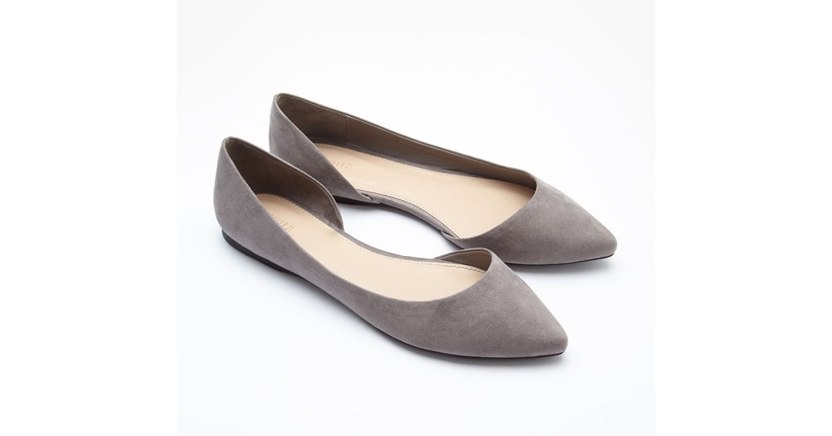 Forever 21 Pointed Faux Suede Flats in Gray - Lyst 1a6c3d61fe