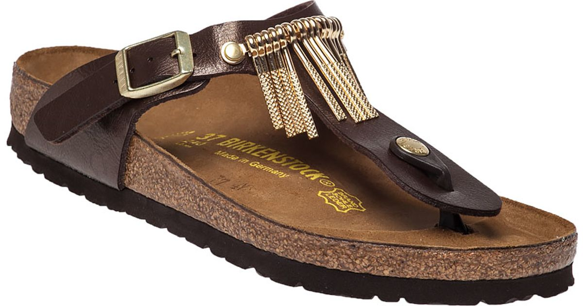 57583cbff984 Lyst - Birkenstock Gizeh Fringed Leather Sandals in Brown