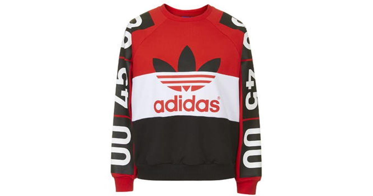 d594739cae63 Lyst - TOPSHOP Superstar Colour-Block Sweatshirt By For Adidas Originals