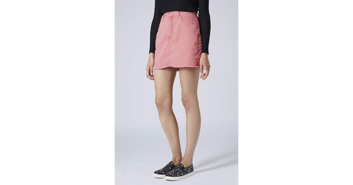 063b436d69 TOPSHOP Moto Frayed Hem Denim Skirt in Pink - Lyst