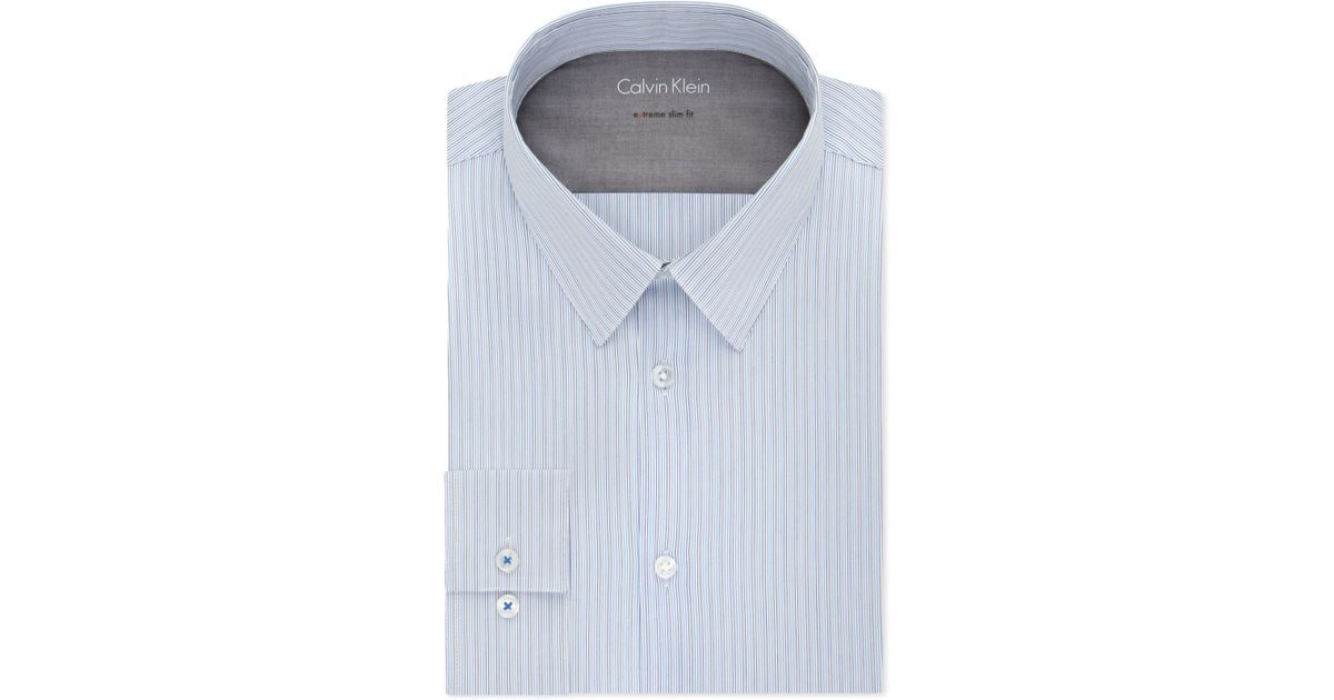 calvin klein x extra slim fit mist blue and black stripe dress shirt in blue for men mist lyst. Black Bedroom Furniture Sets. Home Design Ideas