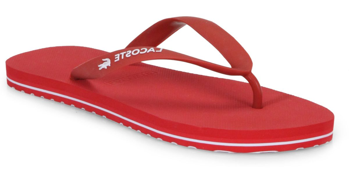 b71c0bcf491b Lyst - Lacoste Thong Flip Flops in Red for Men