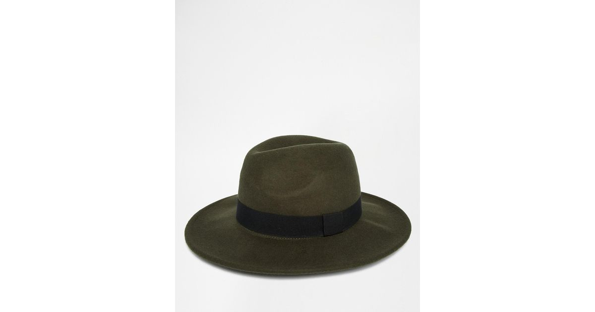 6883fb766d06e Lyst - ASOS Fedora Hat In Khaki Felt - Green in Green for Men