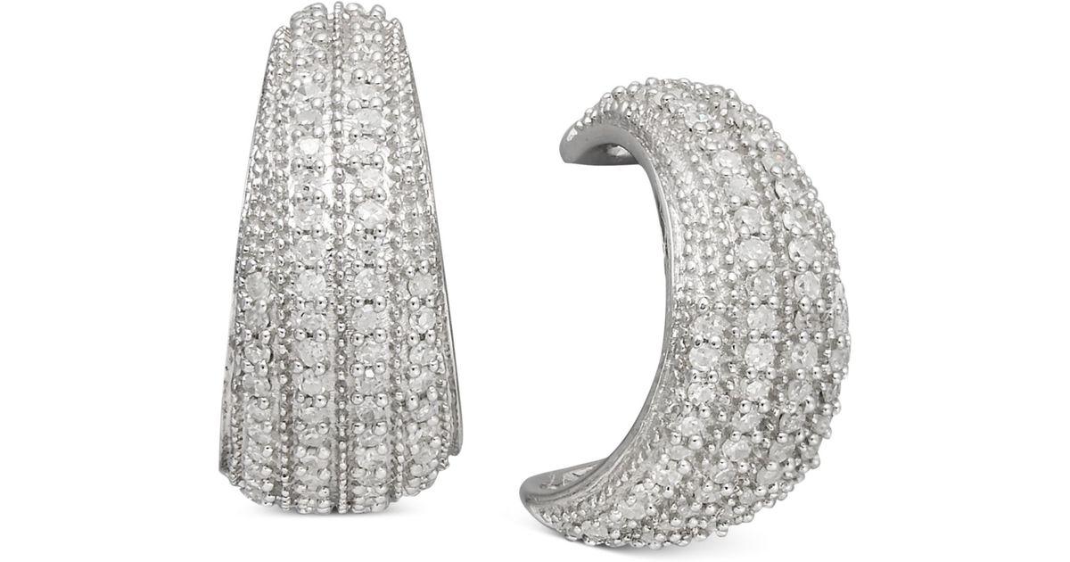Lyst Macy S Diamond Half Hoop Earrings In Sterling Silver 1 2 Ct T W Metallic