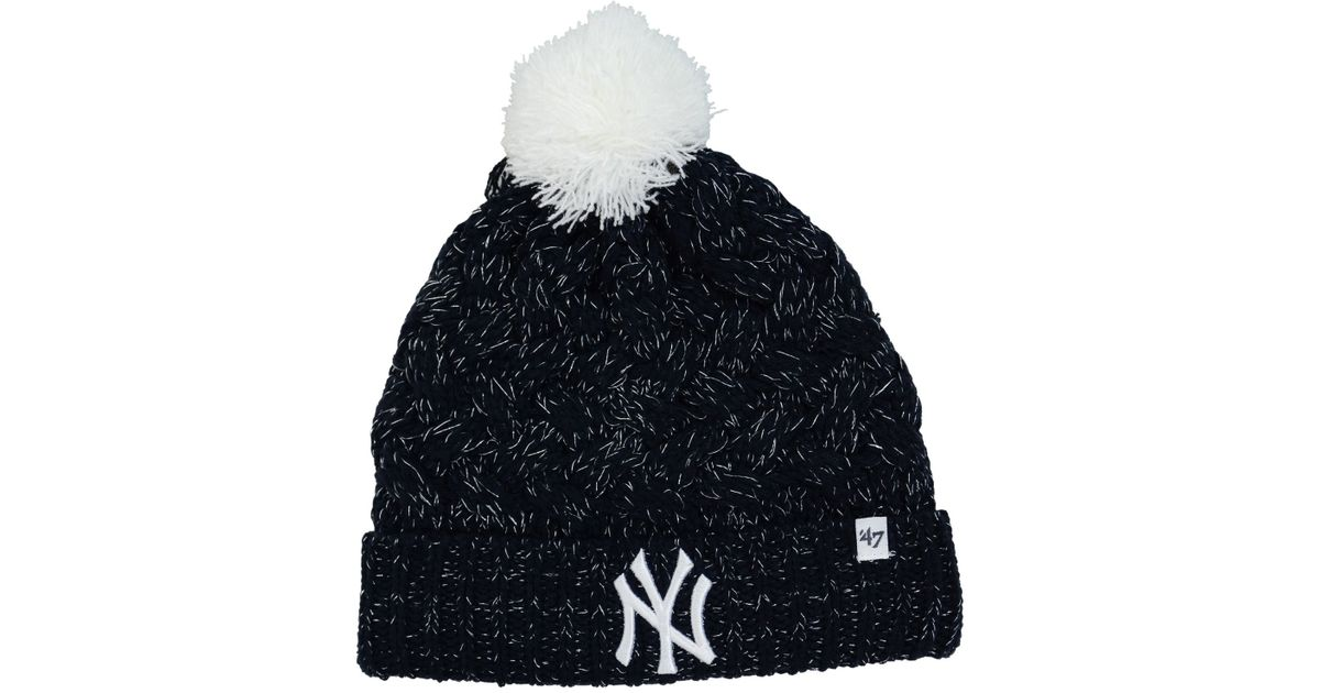 9c1261efaed Lyst - 47 Brand Women s New York Yankees Fiona Pom Knit Hat in White