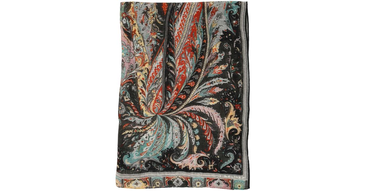 Printed linen and silk scarf Etro Bu9zgmzh