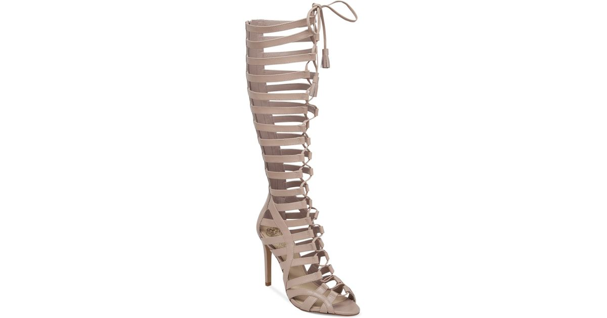 c1c02db5452 Lyst - Vince Camuto Olivian Tall Lace-Up Gladiator Sandals in Natural