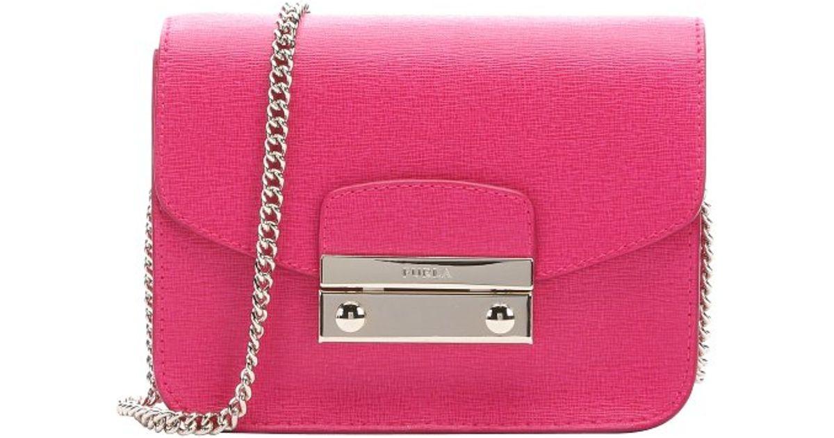 Furla Gloss Pink Leather Mini 'julia' Crossbody Bag in ...