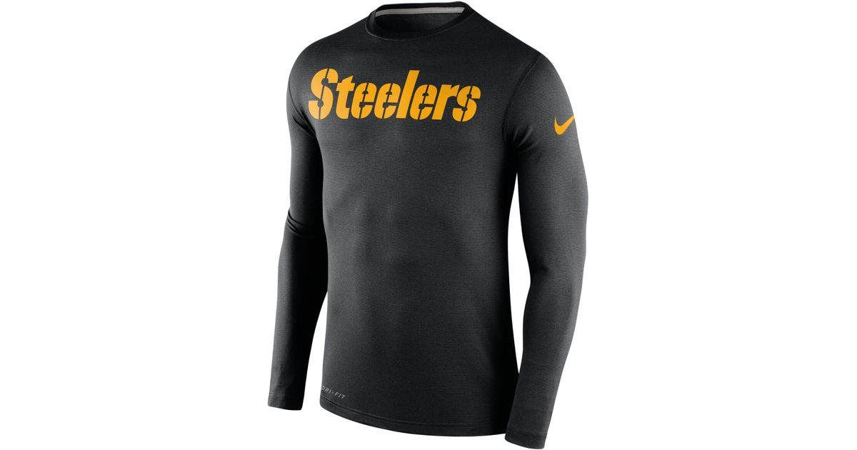 555947cb Nike Men's Long-sleeve Pittsburgh Steelers Dri-fit Touch T-shirt in Black  for Men - Lyst