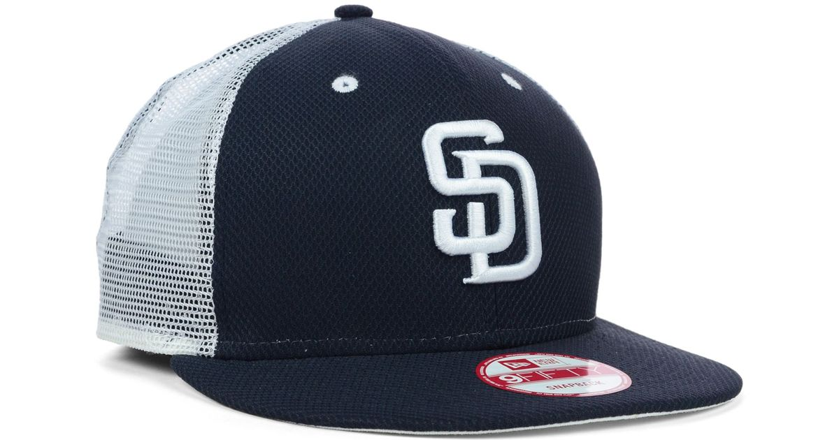 b5f7c0e9550 coupon for lyst ktz san diego padres mlb diamond mesh 9fifty snapback cap in  blue for
